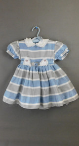 Vintage 1950s Little Girl Dress Blue & Grey Striped, Full Skirt with Crinoline, 22 inch chest