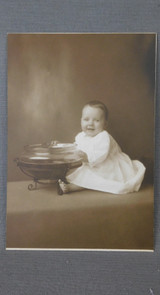 Vintage Baby and Fishbowl Cabinet Card Photo, Early 1900s Photograph