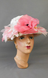 Vintage Pink Floral Hat White Straw with Wide Brim, 1960s