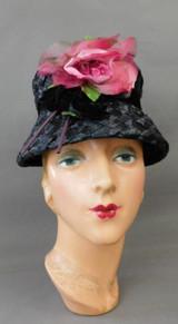Vintage Black Raffia Bucket Hat with Pink Rose Flower, 1960s 21 inch head