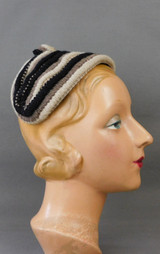Vintage Black & Beige Yarn Hat 1950s Band, fits any size