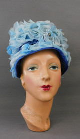 Vintage Blue Floral and Straw Hat 1960s 21 inch head, Marshall Field & Co