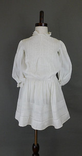 Vintage Edwardian 1900s Little Girl Dress White Cotton, 23 inch chest