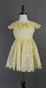 Vintage 1940s Little Girl Dress Yellow Organdy Eyelet Full Skirt, 25 inch chest