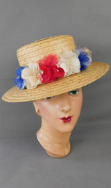 Vintage Wide Brim Straw Hat with Red, White & Blue Flowers 1970s, 21 inch head