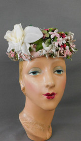 Vintage Floral Open Top Hat 1950s Pink Flowers and White Rose