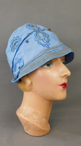 Vintage 1920s Blue Cloche Hat with Embroidery and Straw Trim, 22 inch head - some issues
