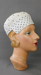 Vintage White Straw Hat with Black Studs, 1950s, 21 inch head