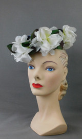 Vintage Navy Straw Topper Hat with White Flowers, 1960s, Frank M. Benson