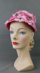 Vintage Pink Satin & Velvet Floral Hat 1960s Milbrae