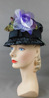 Vintage Black Straw Raffia Hat with Purple Flower 1960s Bucket