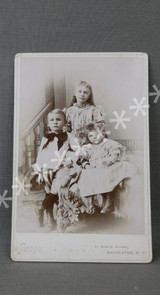 Vintage Victorian Children Cabinet Card Photo, 1800s Photograph