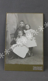 Vintage Edwardian Children Cabinet Card Photo, 1900s Photograph