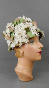Vintage Small Ivory Flowers Hat with Green Netting 1960s Robin New York