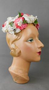 Vintage White & Dark Pink Floral Hat 1960s Cap