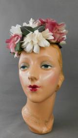 Vintage Pink & Dark Pink Chiffon Hat Floral Pillbox Topper 1960s