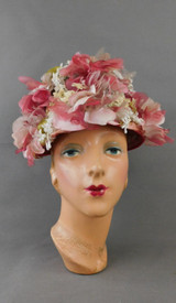 Vintage Pink Chiffon Flowers Hat Small Ivory Floral 1960s Coralie