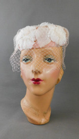 Vintage White & Pale Pink Flowers Hat 1960s Pillbox with Veil and Velvet Trim