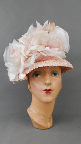 Vintage Pink Straw Hat with Huge Flowers, 1960s Gibbe