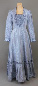 Vintage Navy Gingham Taffeta Maxi Dress, 36 bust 1960s