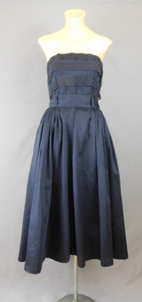 Vintage 1950s Strapless Top & Full Skirt, 35 bust, 26 waist, Cotton and Lace