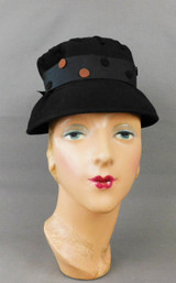 Vintage Black Felt Hat with Polka Dots and Lacing, 1960s 21 inch head