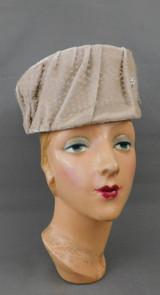 Vintage Ivory Velvet and Satin Hat, Evening Pillbox 1960s