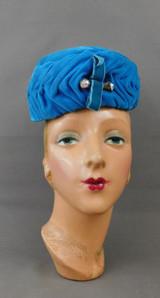Vintage Turquoise Gathered Velvet Hat 1960s Pillbox Topper