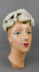 Vintage White Flowers Hat on Green velvet Frame, 1960s