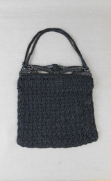 Vintage 1930s Black Crochet Purse, Rayon Cord with Fancy Frame, small