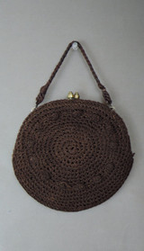 Vintage 1930s Brown Crochet Purse, Small Round Wristlet, Rayon Cord