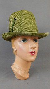 Vintage Green Straw Hat with Ribbon & Grommets 1960s