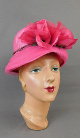 Vintage Bright Pink Straw Hat with Flowers and Tulle 1960s 21 inch head