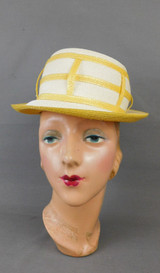 Vintage White & Yellow Straw Hat 1960s Crescent, 21 inch head