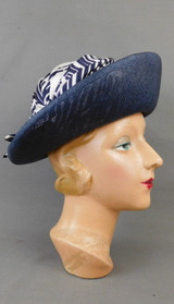 Vintage Navy Straw Hat with Scarf Top, 1960s 1970s, 21 inch head, Collette Cathay