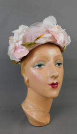 Vintage Pink Satin Flowers Hat 1960s Karli-Anne, 22 inch head