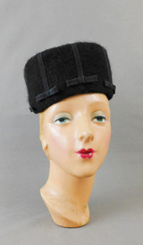 Vintage Black Fuzzy Felt Hat with Ribbon and Bow, 1960s, 21 inch head