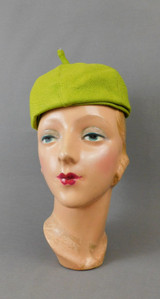 Vintage Chartreuse Linen Hat 1960s, 21 inch head, Finley New York