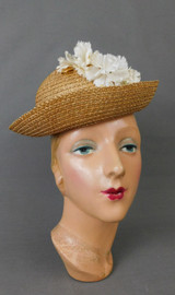 Vintage Natural Straw Floral Hat with Open Top 1940s XS 20 inch head, Girl or Teen