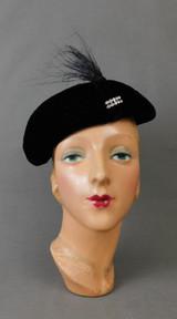 Vintage 1930s Black Velvet Hat with Feathers & Rhinestones, 21 inch head