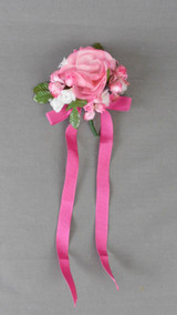 Vintage Pink Floral Corsage with Ribbon 1960s Prom, Formal