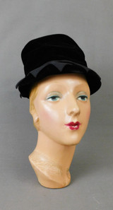 Vintage Black Velvet Hat with Fabric Points, 1960s 21 inch head