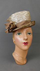 Vintage Ivory & Beige Straw Hat 1960s, 21 inch head, Toby of London