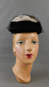 Vintage Black & Brown Velvet Hat with Veil 1960s