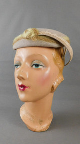 Vintage Beige Felt Hat with Feather, 1950s Topper