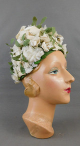 Vintage Ivory Floral Hat with Leaves, 1960s Flowers, 22 inch head
