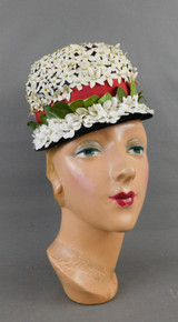 Vintage Ivory Floral Hat with Red Bow and Velvet Trim, 1960s, some issues
