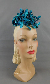 Vintage Dark Turquoise Velvet Floral Topper Hat with Glitter, 1960s Miss Sally Victor with tag