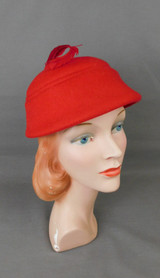 Vintage Red Felt Hat with Feather 1950s, 21 inch head