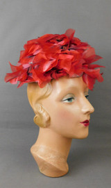 Vintage Dark Red Poppies Floral Hat 1960s Tall Flowers, 21 inch head